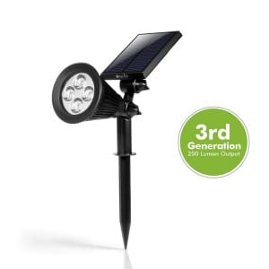 [2015 Upgraded] Solar LED Spot Light, OxyLED® E03S LED Solar Spotlight Solar Powered Outdoor Wall Light - Waterproof, Adjustable 180°, Auto-onoff light sensor