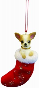 Chihuahua Christmas Stocking Ornament with Santa's Little Pals Hand Painted and Stitched Detail