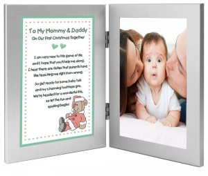 Christmas Gift for New Parents - To My Mommy & Daddy On Our First Christmas Together - Add Photo to Frame