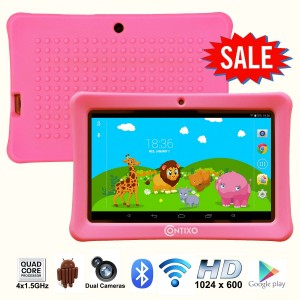 Contixo Kids Safe 7 Quad-Core Tablet 8GB, Bluetooth, Wi-Fi, Cameras, 20+ Free Games, HD Edition w Kids-Place Parental Control, Kid-Proof Case, 2015 Best Christmas Gift (Pink)