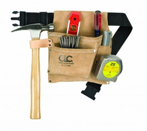 Custom Leathercraft IP489X Suede Nail and Tool Bag with Poly Web Belt, 3-Pocket