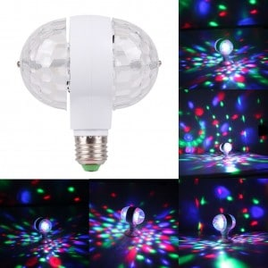 Heartybay 6W Double-headed Magic Stage Colorful Light Rotating LED Stage Light Bulbs Disco Lamp for Party
