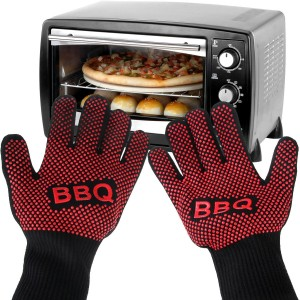 Heat Resistant BBQ Oven Gloves, Iwotou Oven Mitts Gloves, Best Insulated Heat Pot Holder for Barbecue, Cooking, Grilling and Food Handling (Full Size)