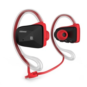 Jabees BSport Bluetooth Headphones V4.1 Sweat Proof Waterproof Sport Wireless Earbuds for Running Jogging aptX NFC-Red