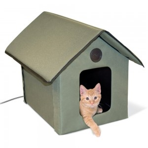K&H Manufacturing Outdoor Kitty House - Olive 18 X 22 X 17 (Heated or Unheated)