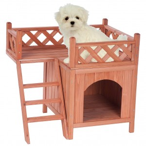 Merax High-quality Natural Wood Color Wooden Pet Dog House Cage Crate IndoorOutdoor