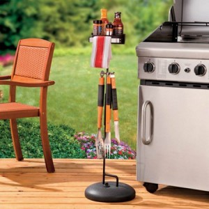 Metal Polymer Barbecue Accessory Organizer Barbecue Caddy Base with Sand or Water Stand Perfect for Your Patio to Keeps Condiments, Utensils and Other Grill Items Close At Hand
