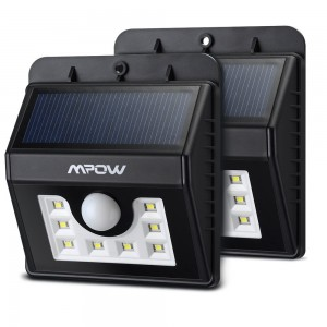 Mpow Super Bright 8 LED Solar Powered Wireless Security Light Weatherproof Outdoor Motion Sensor Lighting with 3 Intelligent Modes for