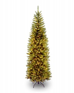 National Tree 7 12' Kingswood Fir Pencil Tree, Hinged, 350 Clear Lights (KW7-300-75)