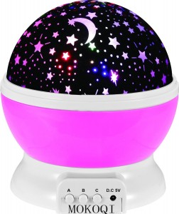 Night Lighting Lamp [ 2 Gneration, 4 LED Beads, 3 Model Light ] Romantic Rotating Cosmos Star Sky Moon Projector , Rotation Night Projection Lamp Kids Bedroom Bed Lamp for Christmas Children (Pink)