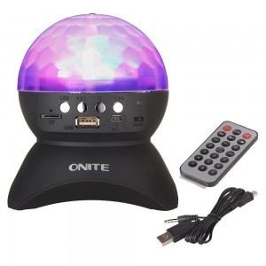 Onite Disco DJ Stage Lighting LED RGB Crystal Rotating Special Effects Lighting, Aux Input TF Card Music Player and Wireless Bluetooth Speaker