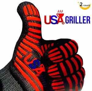USA Griller BBQ Gloves + Free Recipes #1 Best Recommended for Max Heat Resistance - Perfect for Baking, Smoking, Barbecue, or Replacing Oven Mitts with Trusted Silicon Grill Gloves