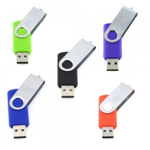 5pcs 8GB Swivel Design USB 2.0 Flash Drive Memory Stick (5 Mixed Colors Black Blue Green Purple Red)