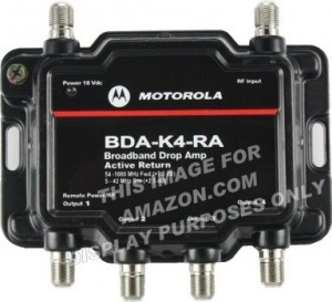 Motorola Signal Booster 4-Port Cable Modem TV HDTV Amplifier with Active Return Cable Modem Boost