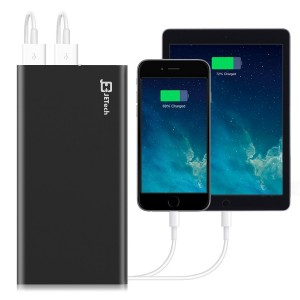 Power Bank, JETech 10,000mAh 2-Output Portable External Power Bank Battery Charger Pack for iPhone 654, iPad, iPod, Samsung Devices, Smart Phones, Tablet PCs - Black