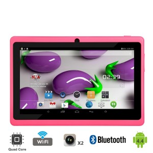 Tagital T7X 7 Quad Core Android 4.4 KitKat Tablet PC, Bluetooth, Dual Camera, Google Play Store, 2016 Newest Model (Pink)