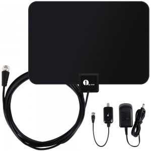 1byone Amplified HDTV Antenna - 50 Mile Range with Detachable Amplifier Power Supply for the Highest Performance and 10ft Coax Cable