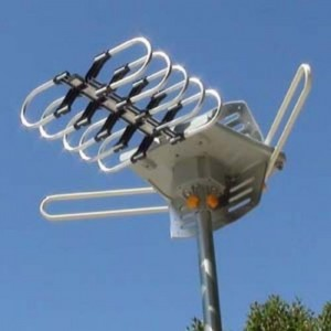 Amplified HD Digital Outdoor HDTV Antenna with Motorized 360 Degree Rotation, UHFVHFFM Radio with Infrared Remote Control