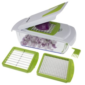 Freshware KT-402 4-in-1 Onion Chopper, Vegetable Slicer, Fruit and Cheese Cutter Container with Storage Lid