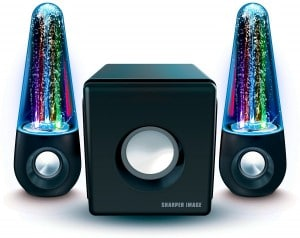 Sharper Image SBT5002 Water & Light Show Bluetooth Streaming 2.1 Speakers With Subwoofer & Beat Responsive Dancing Lights (Black)