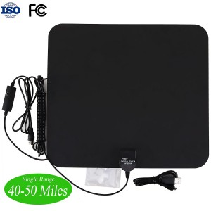 Sinsun Flat Amplified HDTV Antenna - 50 Miles Range with Built-in Amplifier Signal Booster and 15 Feet Coax Cable for Indoor Using