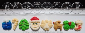 Christmas 8 Disk Set for Cookie Presses (SIZE M disks for presses that came with METAL disks)