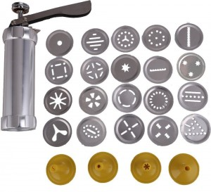 Cookie Press Kit - Stainless Steel Biscuit Press Set Includes 20 Discs & 4 Icing Tips