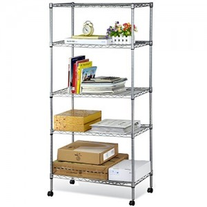 Gotobuy Home Kitchen Garage Wire Shelving 5 Shelf Storage Rack Unit Shelves w Wheels