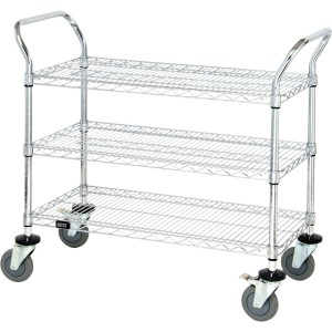 Quantum Storage Systems WRC-2448-3 3-Tier Wire Utility Cart with 3 Wire Shelves