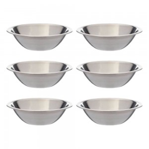 SET OF 6 - 6 12 Inch Wide Stainless Steel Flat Rim Flat Base Mixing Bowl