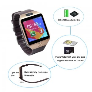 SHONCO DZ09 Gear S Bluetooth Smartwatch Smart Watch Wristwatch HD Display SIM Insert Long Battery Life Anti-lost Call Reminder Phone Mate for Samsung Huawei Android Phones