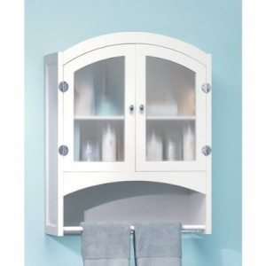 White Finish Wood Bathroom Wall Cabinet Towel Rack Furniture Creations