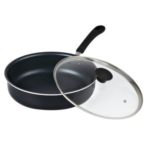 Cook N Home 02435 Non-Stick Deep Sauté Fry PanJumbo Cooker Cookware with Lid, 11, Black