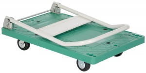 Vestil FPT-2133 Plastic Platform Truck with Fold Down Handle, 500 lbs Capacity, 33 Length x 21 Width x 6-12 Height Deck