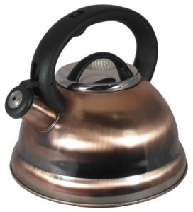 Alpine Copper Finish Encapsulated Base 1810 Stainless Steel Whistling Tea Kettle Pot