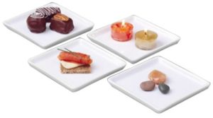 BIA Cordon Bleu White Porcelain 4.5 inch Square Crudite Plates - Set of 4