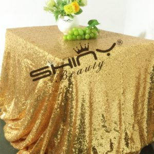BalsaCircle ST Sequin Rectangular 60-Inch by 102-Inch Tablecloth, Gold
