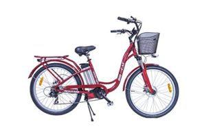 Big Cat Electric Bikes Long Beach Cruiser, 17.5One Size, RedSilver Wheels