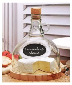 Circleware Glasss Chalkboard Cheese Tray and Moonshine Dome, 6.9x 6.9 x 8.9, Limited Edition Glassware Serveware