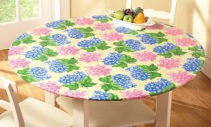 Collections Etc Fitted Elastic Table Cover, Round, Hydrangea