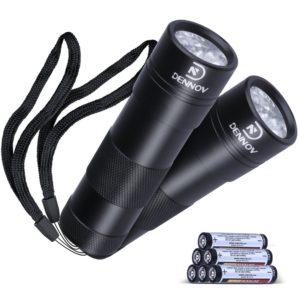 Dennov 2 Pack UV Flashlight Blacklight, Pets Urine and Stains Detector, 12 LED