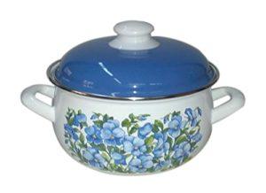 Europe Ware K1528920 Enamel 4 quart Casserole Pan with Decorative Design, Large, WhiteBlue