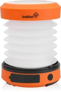 Ivation Hand crank LED Camping Lantern Collapsible & Rainproof, USB Flashlight torch Mini Lamp with hanging handle,