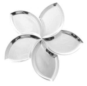 JustNile Stainless Steel Party Serveware - 5-Piece Flower Petals Platter Set