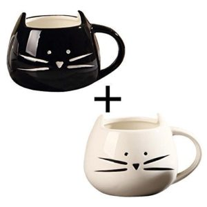 OliaDesign Black & White Cat Coffee Ceramic Mugs, Set of 2