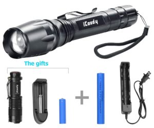 Rechargeable 1600 Lumens Led Flashlight,iCoudy Adjustable Focus 1600LM Cree XML T6 LED Handheld Flashlight, Super Bright,