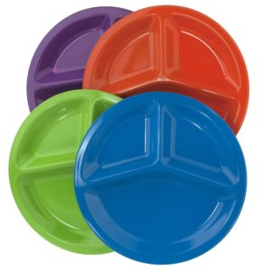 Set of 12  Premium Quality Unbreakable Plastic 10 Divided Plates in 4 Assorted Colors