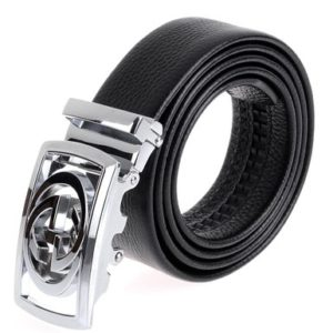 Vbiger Letter Buckle Men's Dress Belt Ratchet Belt 35mm Wide Strap
