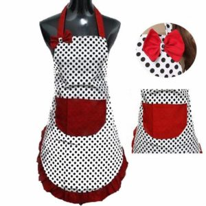 dzt1968 Cute BowKnot Lady's Girls Kitchen Restaurant Bib Cooking Aprons With Pocket for Women Vintage Apron Bib Chef Cooking Waitress