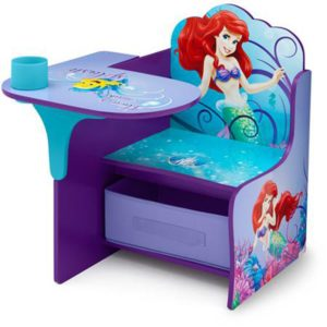 Disney Chair Desk With Storage Bin Little Mermaid Characters Desk Set Fabric Storage Seat Extra Storage Table